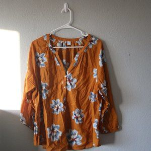 OLD NAVY Yellow Button Up Blouse